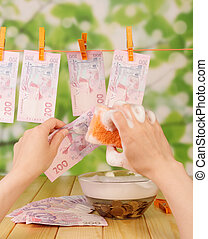 Money laundering - The female hand washing Dirty money bills