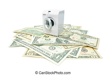 Money laundry - Miniature washing machine on top of a pile...