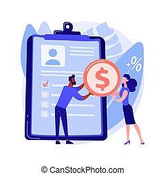 Money lending abstract concept vector illustration.