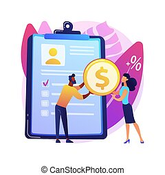 Money lending abstract concept vector illustration.