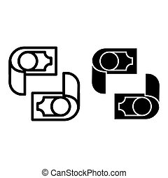 Money line and glyph icon. Cash vector illustration isolated on white. Dollar outline style design, designed for web and app. Eps 10.