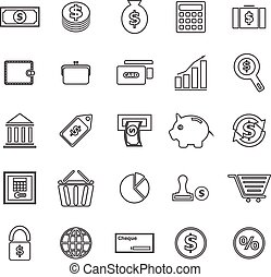 Money line icons on white background