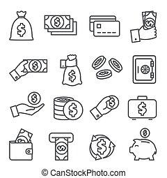 Money line icons set on white background