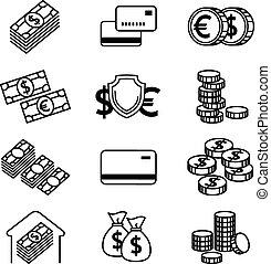 Money line vector icons set