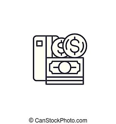Money linear icon concept. Money line vector sign, symbol, illustration.