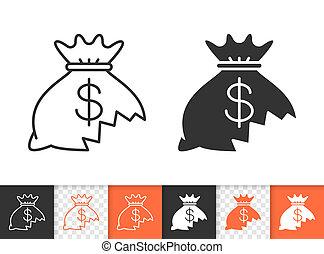 Money Lost simple black line vector icon