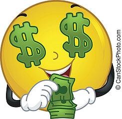 money-loving, smiley