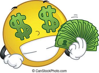 Money-loving Smiley - Illustration Featuring a Money-loving...