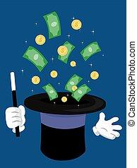 Money Magic Hat Illustration