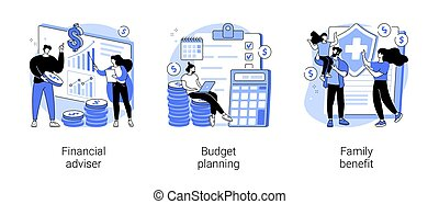 Money management abstract concept vector illustrations.
