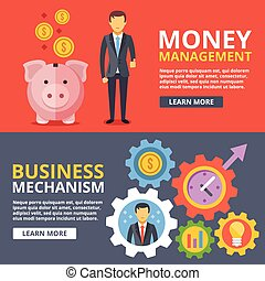 Money management, business mechanism flat illustration ...