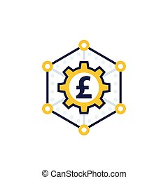 money management, finance concept vector icon with pound, ...