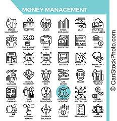 Money management icons - Money management concept detailed ...