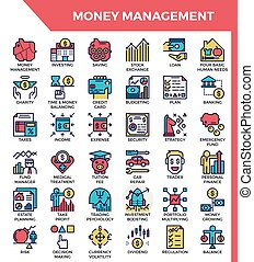 Money management icons - Money management concept detailed ...