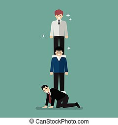 Money management of three social class. Vector illustration
