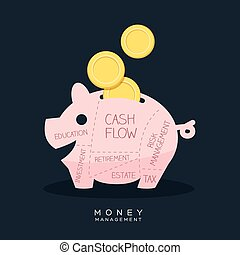Money Management Piggy Bank Vector Illustration