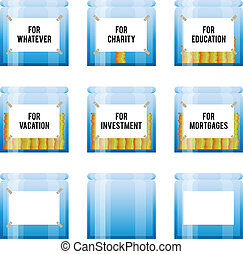 Money Management - Vector illustration of several labeled ...
