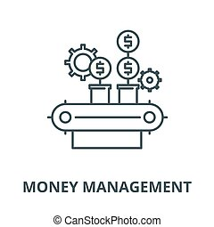 Money management vector line icon, linear concept, outline ...