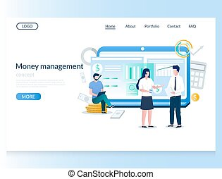 Money management vector website landing page design template...