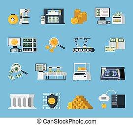 Money Manufacturing Icons Set
