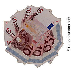 Many banknotes of ten euro in form of a star