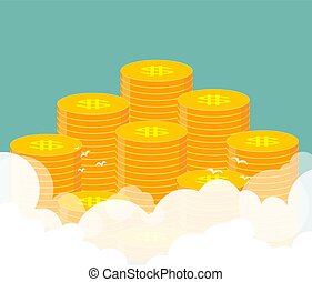 Money. Many stacks of gold coins.