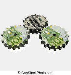 Money mechanism with euro and dollar currency signs