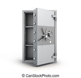 money metall safe with open door 3d illustration