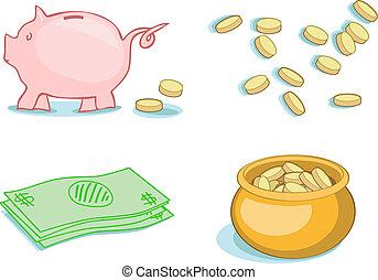 Money, money, money - Four bold, bright vector illustrations...
