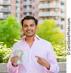 Money money money - Closeup portrait, super happy excited...