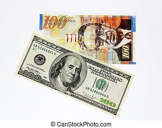 money of America and Israel - one hundred dollars and a one ...