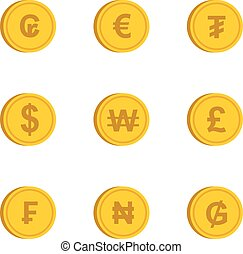 Money of countries icons set, flat style