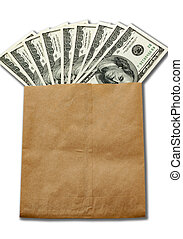 money of USA in paper envelop