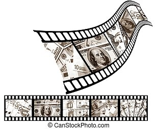 Different money signs on a movie film. On illustration the graphic are incorporated and photo of image.