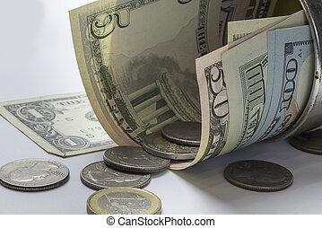 Money on a white background.