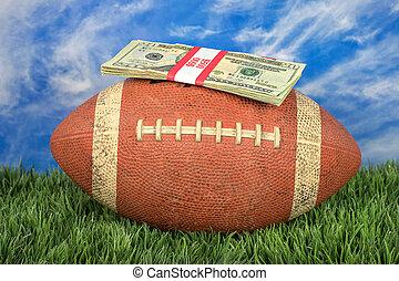 money on American football on green turf