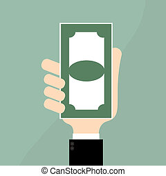 Money on Businessman hand.Business Concept Illustration.