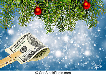 Money on Christmas background. Copy space