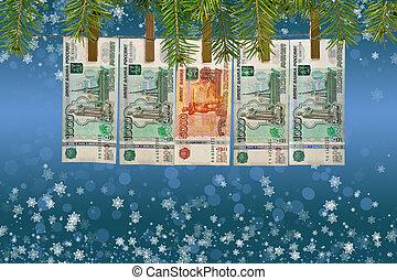 Money on Christmas background