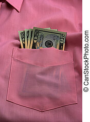 pictures of several twenty dollar bills in the pocket of a shirt