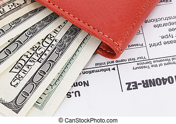 Money on tax form background