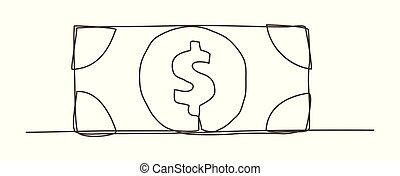 Money One line drawing