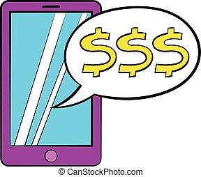 Money online icon cartoon