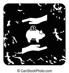 Money or savings insurance icon, grunge style