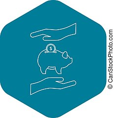Money or savings insurance icon, outline style