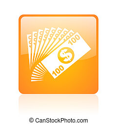 money orange square glossy web icon