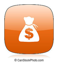 money orange square web design glossy icon