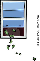 Money Out The Window - Illustration about wasting or...