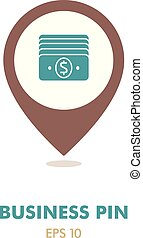 Money outline pin map icon. Business sign