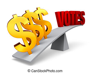 Money Outweighs Votes - Three bright, gold dollar signs...